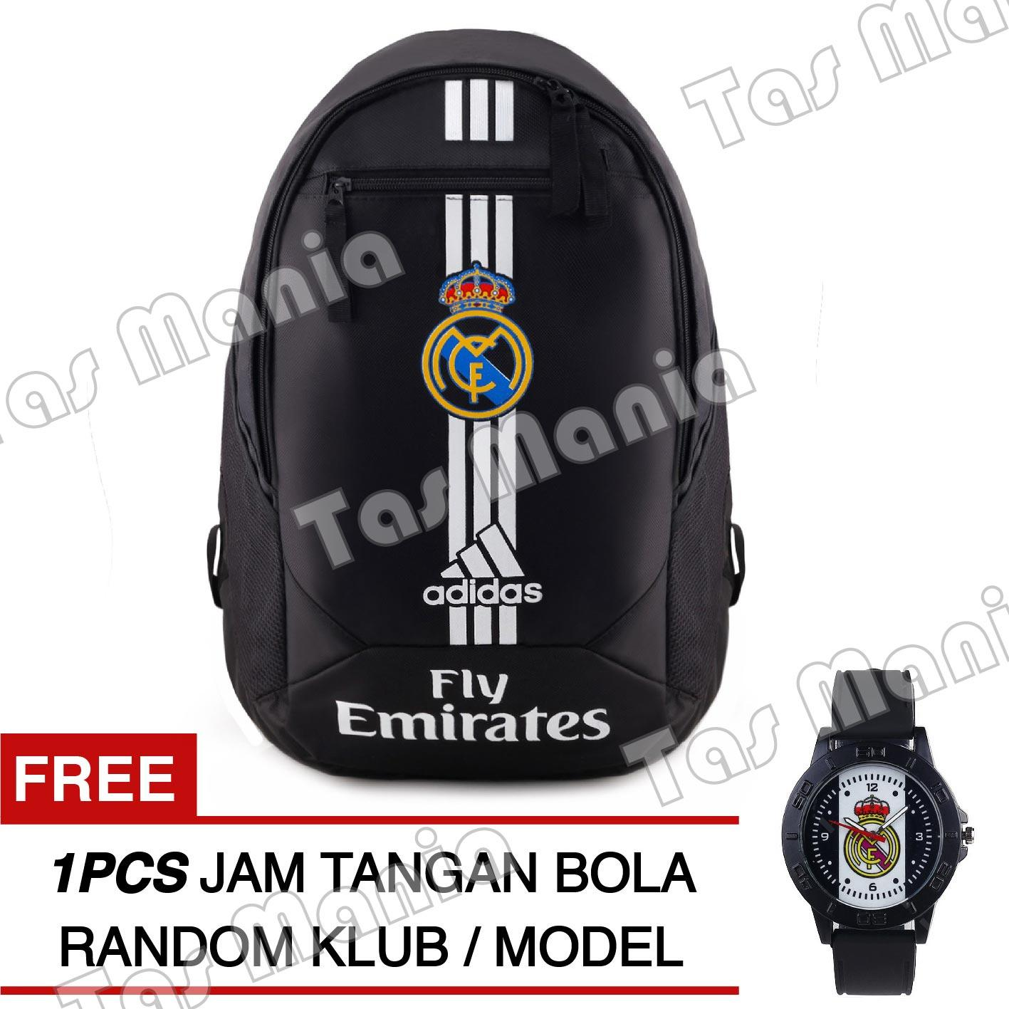 Tas Ransel Adidas Bola Pria Real Madrid C.F Laptop Backpack Men Soccer Editions - Black + Raincover + FREE Jam Tangan  Pria Random Color / Model