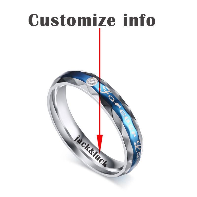 Vnox Selamanya Cinta Pernikahan Cincin untuk Wanita Pria Ukiran Nama Janji Hadiah Ukuran US-Intl