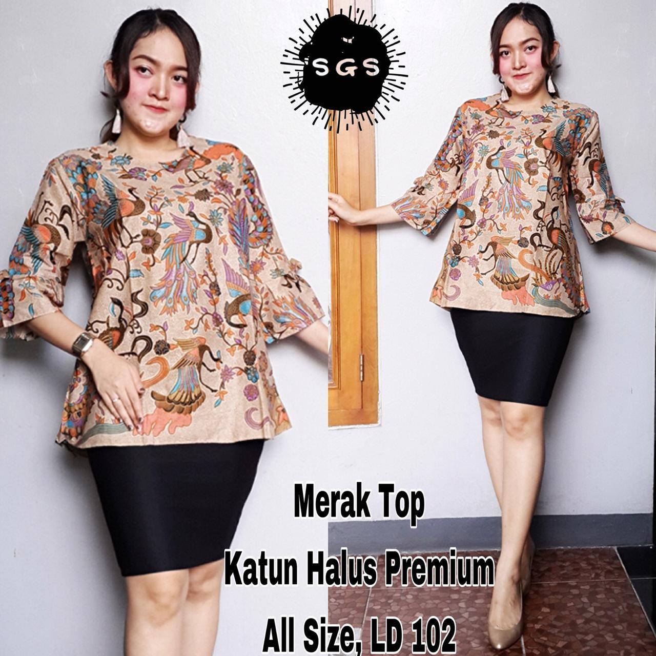 Blouse Tunik Wanita Samantha Atasan Fashion Muslim Dress  Baju Batik Blus Kerja Lengan Panjang Premium Motif Merak
