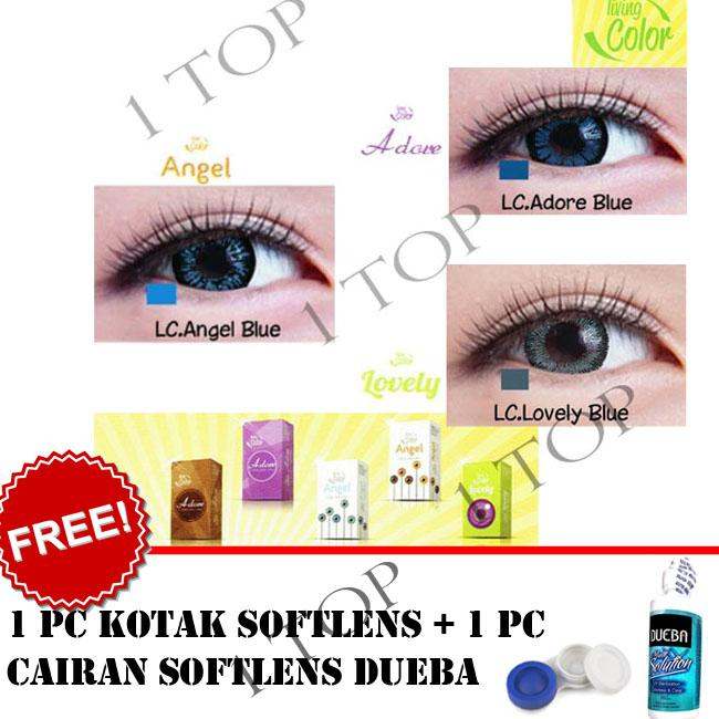 BEST SELLER Kontak Lens Softlens Living Color - Random : Adore, Angel, Lovely - Kualitas Bagus + FREE Lenscase + Cairan Softlens