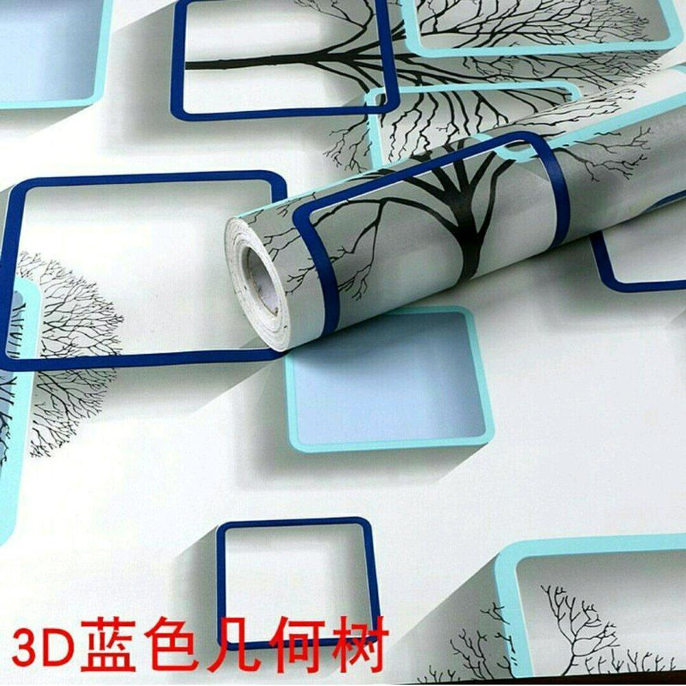 Wallpaper Sticker Motif Kotak Biru wallpaper dinding Size 10mx45Cm