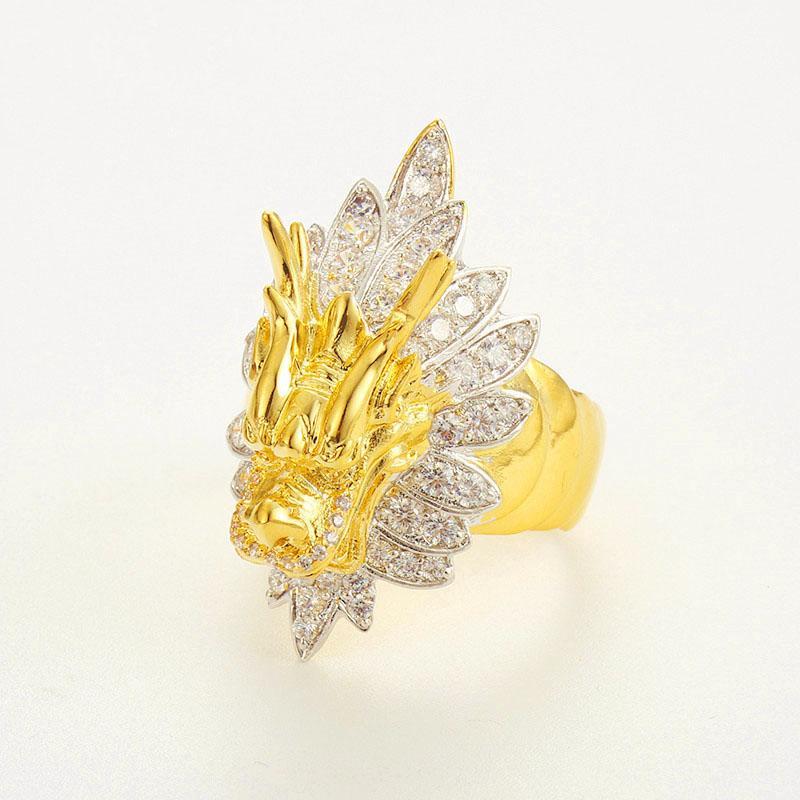Emas Korea Pria Cincin Modis Keren 24 K Gold Cincin Berlapis Gothic Naga Retro Anti Karat Berlian Cincin Hadiah Perhiasan untuk Pria