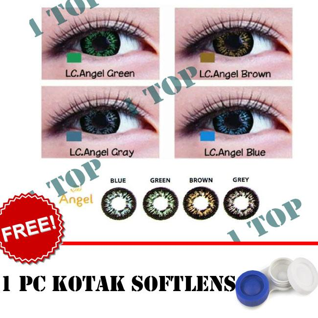 BEST SELLER Softlens Living Color Angel : Blue,Brown, Grey, Green Kualitas Bagus + FREE Lenscase