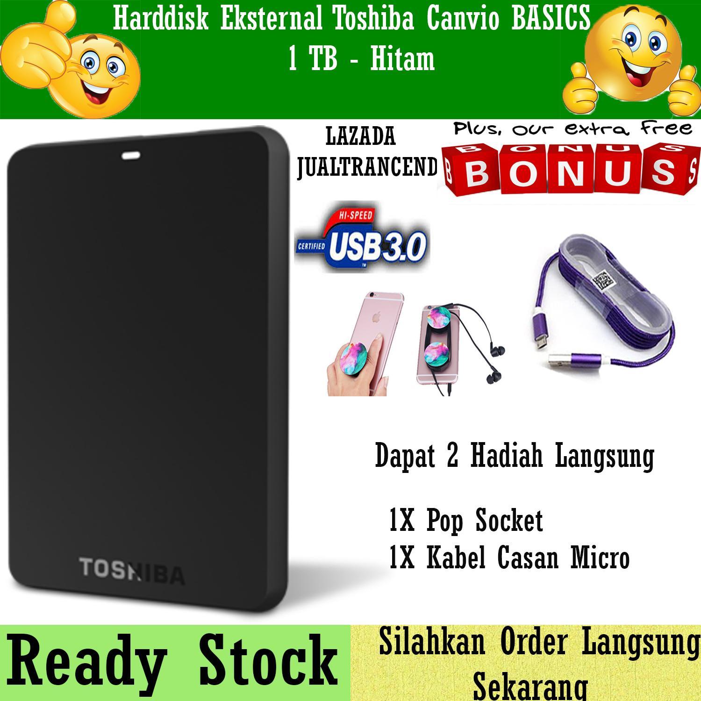 Toshiba Canvio Basic 1TB - HDD / HD / Hardisk Eksternal - Hitam - Gratis Kabel Charger Micro Usb + Pop Socket