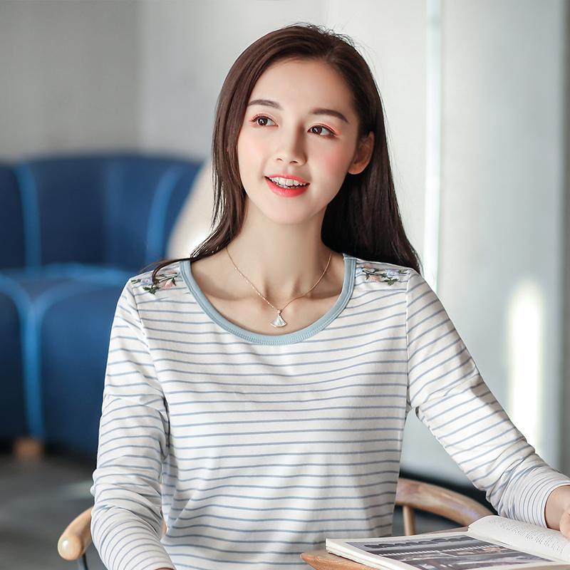 ... pendek t-shirt bottoming kemeja (Zs. Source · Longgar Korea Modis Gaya Baru Lengan Bergaris Bordir Bunga Kaos (Putih And Biru Lengan Bergaris
