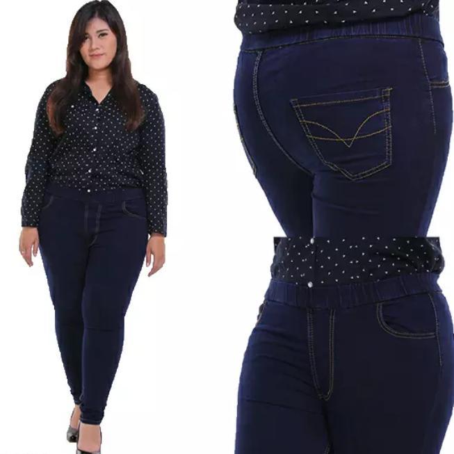 Celana Legging Pinggang Karet Jeans Jumbo Wanita Size 31 - 38 Navy d4e1b5ecad