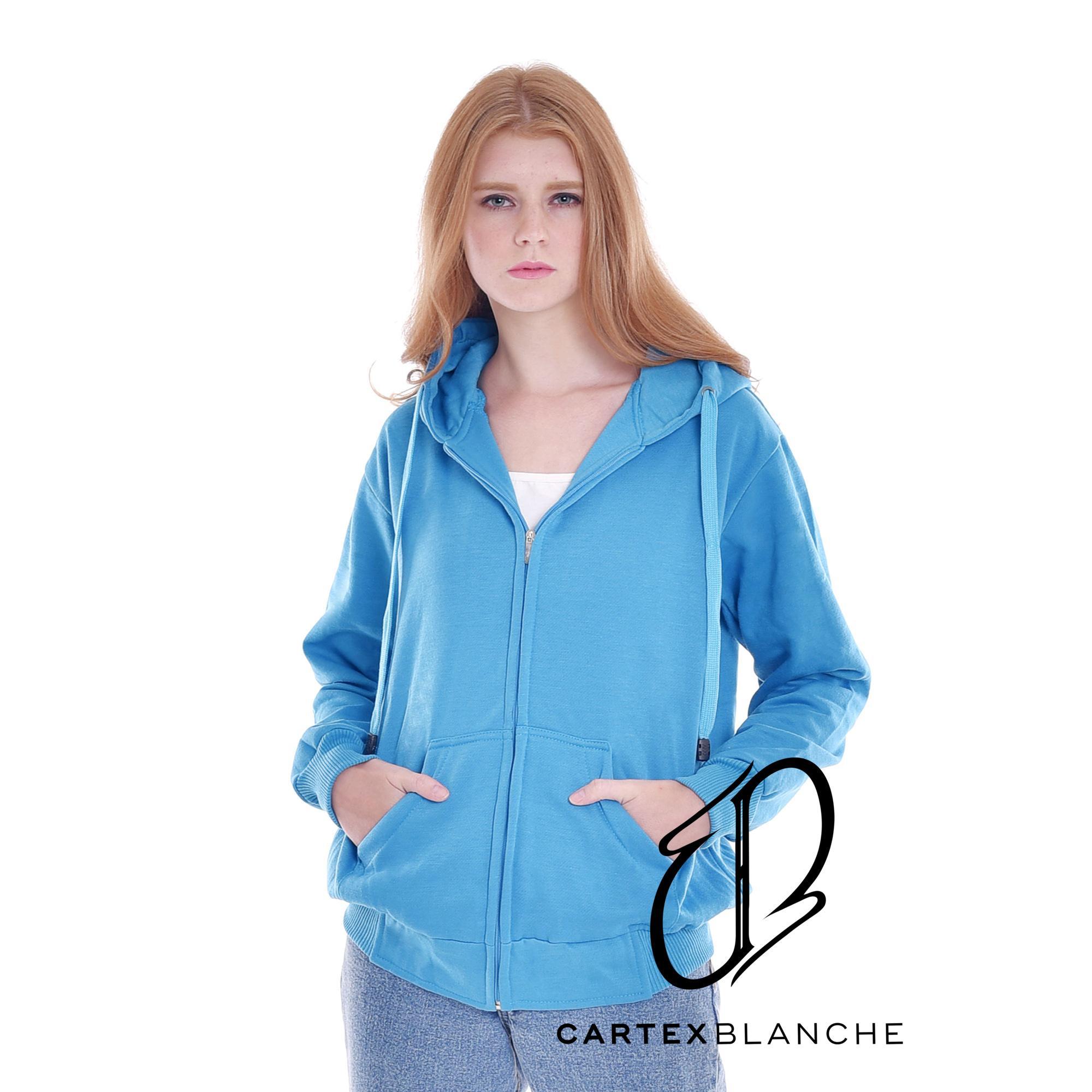 Jaket Sweater Hoodie Sleting Polos Turkis Woman