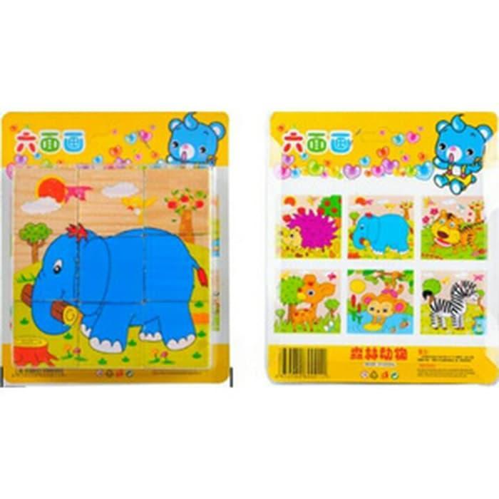 Mainan Edukatif/Edukasi Anak Puzzle Kayu 6 in 1 3D Jigsaw Hewan Safari