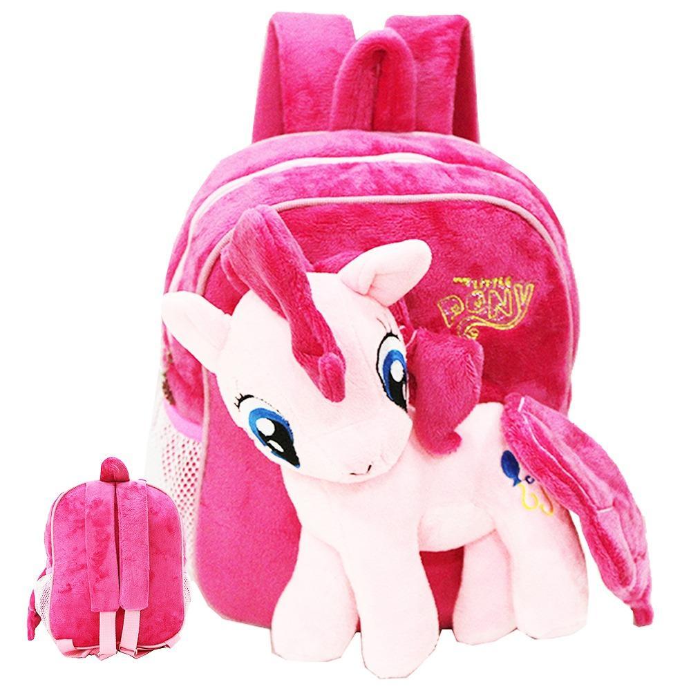 Onlan My Little Pony Tas Ransel Boneka Anak Ukuran Play Group Bahan Yelvo Lembut dan Halus - Pink