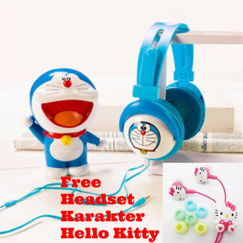 Headphone /Headset Karakter Doraemon Mobile Stereo Headset/Biru Free Handsfree/ Headset Karakter Hello Kitty Universal