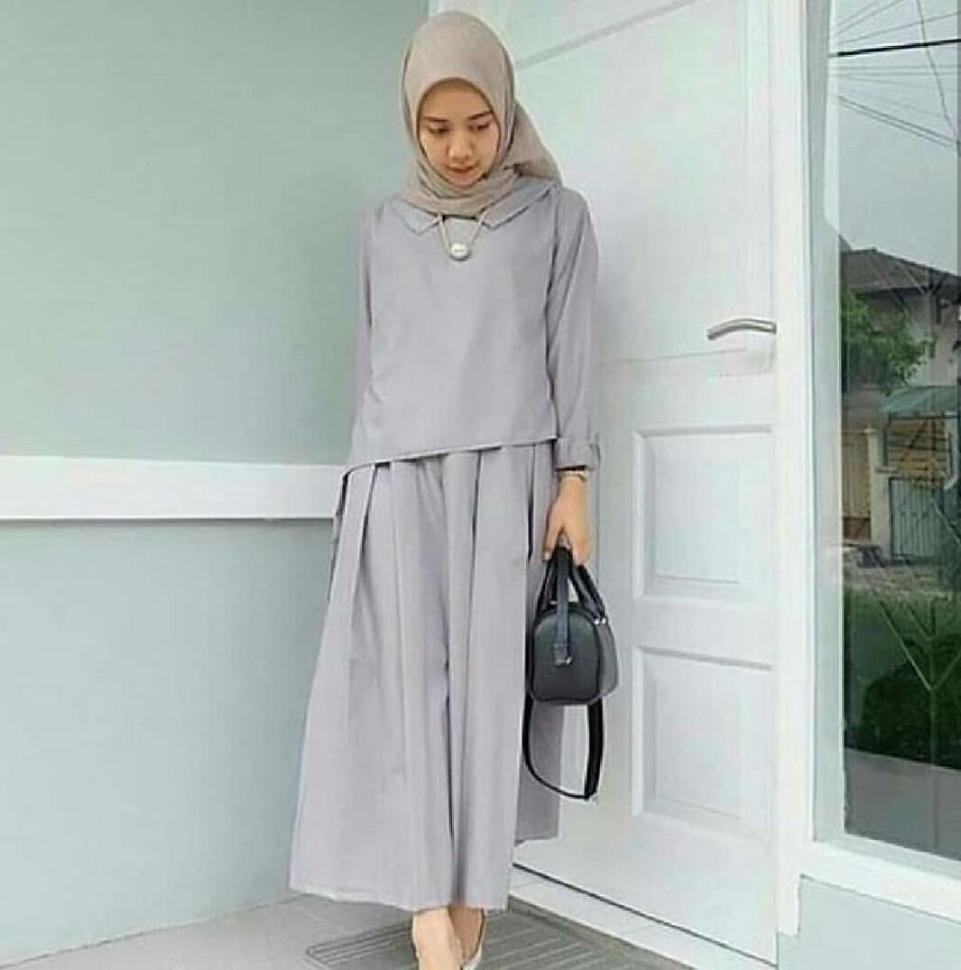 RUVAGO- DRESS WANITA GAMIS CANTIK DRESS KEKINIAN DRESS ADEM MAXI WANITA DEWASA MURAH HIGH QUALITY ZAITUN