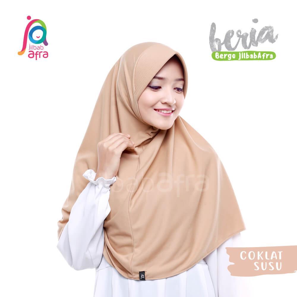 Jilbab Beria 09 Coklat Susu - Bergo Jilbab Afra - Hijab Instan Bahan Kaos, Adem