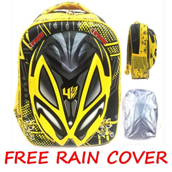 FREE RAIN COVER Tas Ransel Sekolah Anak SD Transformer Bumblebee