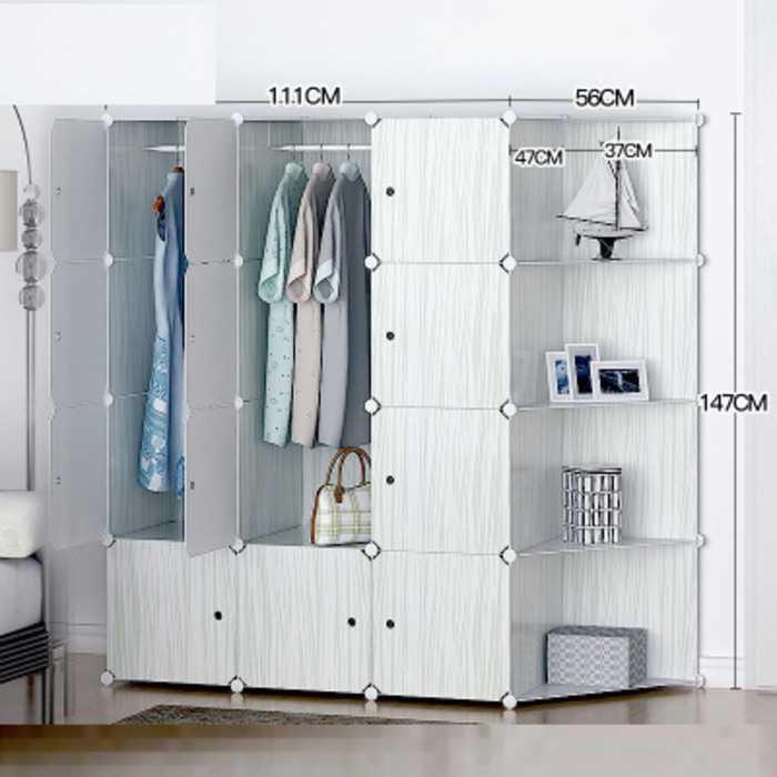 lemari rak baju gantung wardrobe meja besi anti air kuat serat kayu
