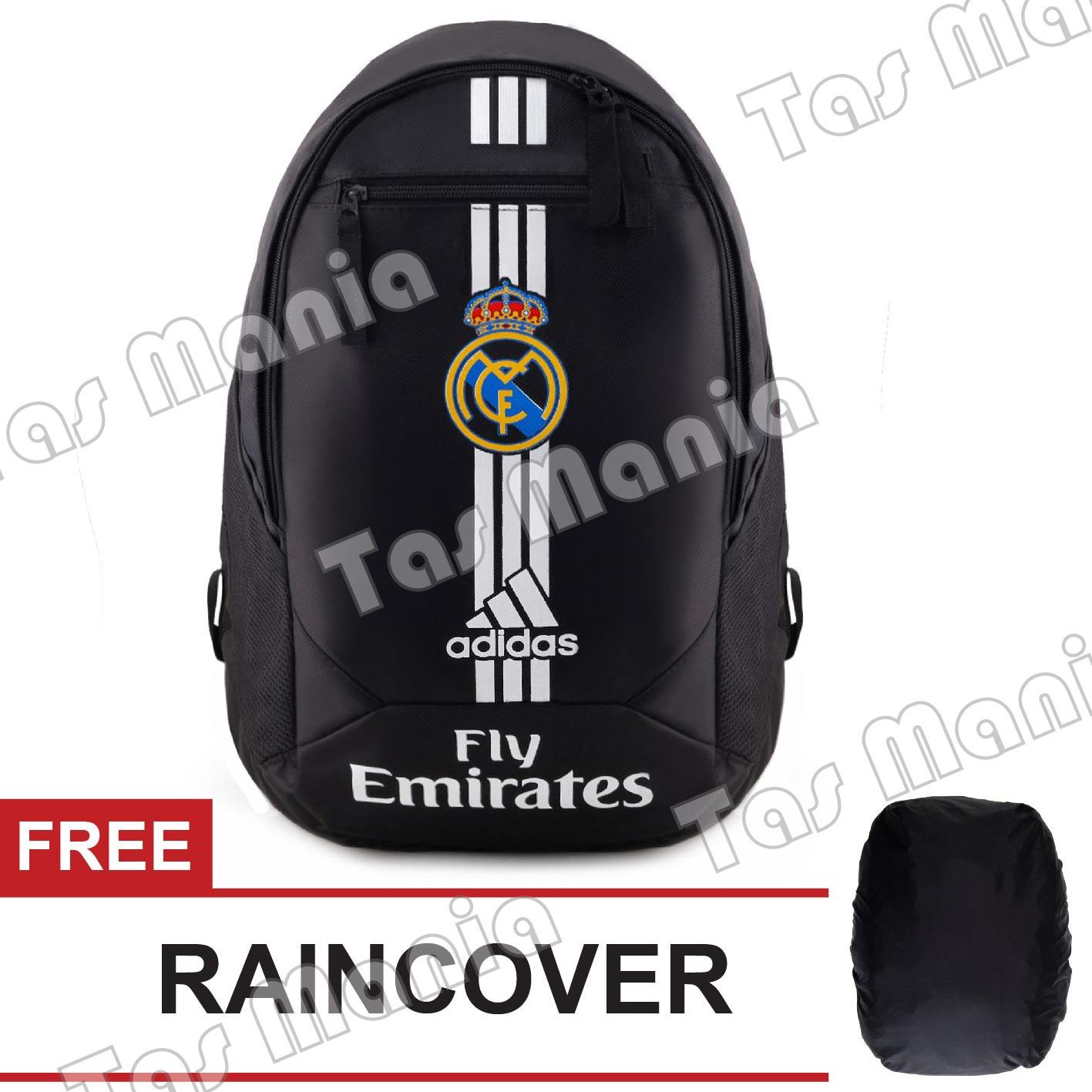 Tas Ransel Adidas Bola Pria Real Madrid C.F Laptop Backpack Men Soccer Editions - Black + FREE Raincover