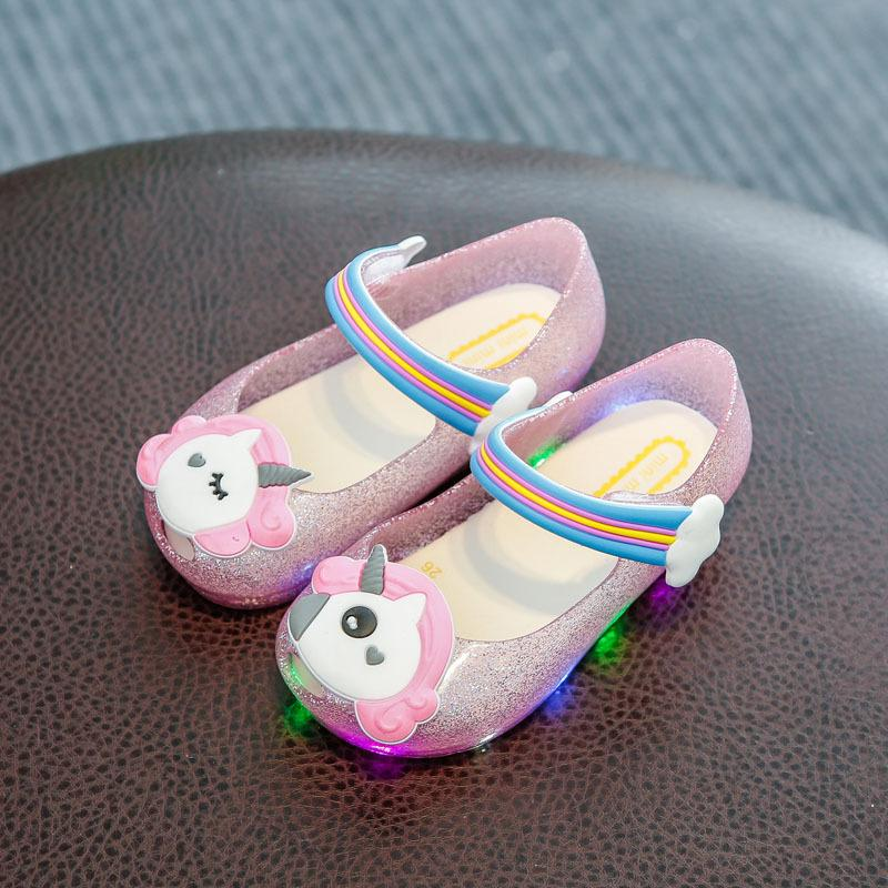 Unicorn Jelly LED Flash Light Glitter Fragrance Jelly Children's Shoes Fish Mouth Girls Sandals