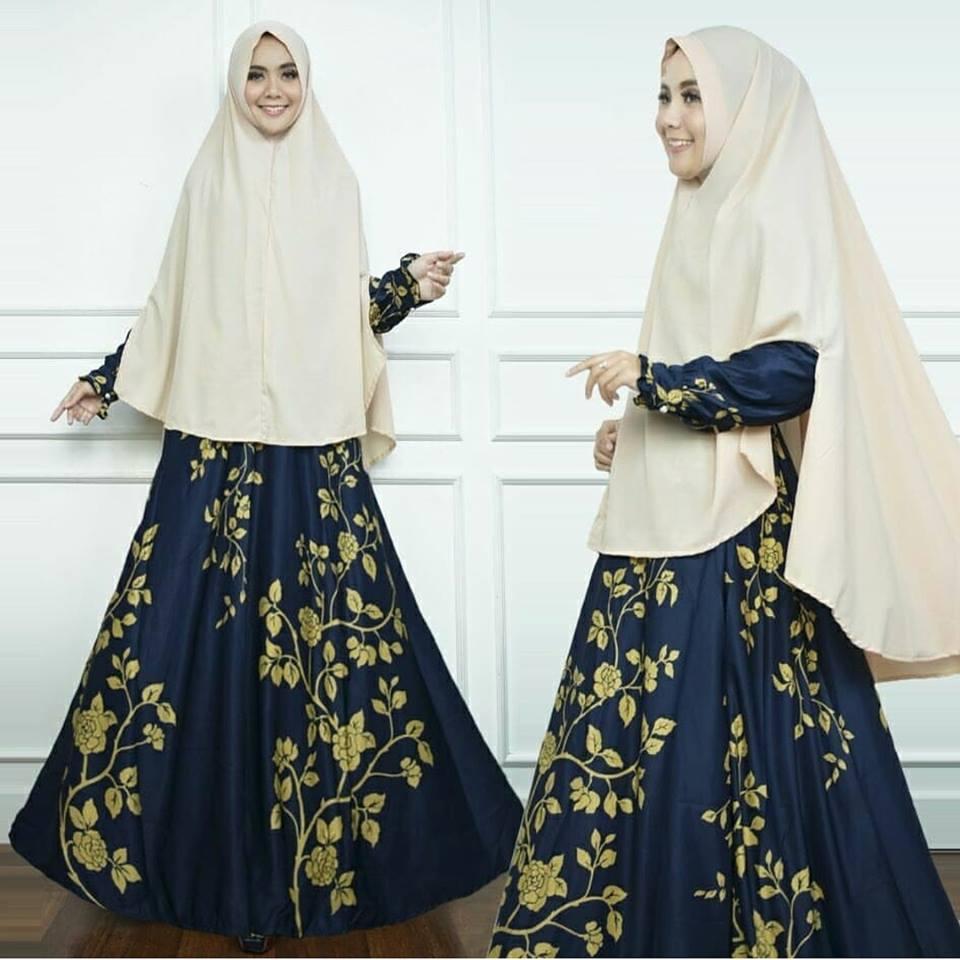Maxi Dress Gamis Dewasa Syari Bunga Kecil Navy