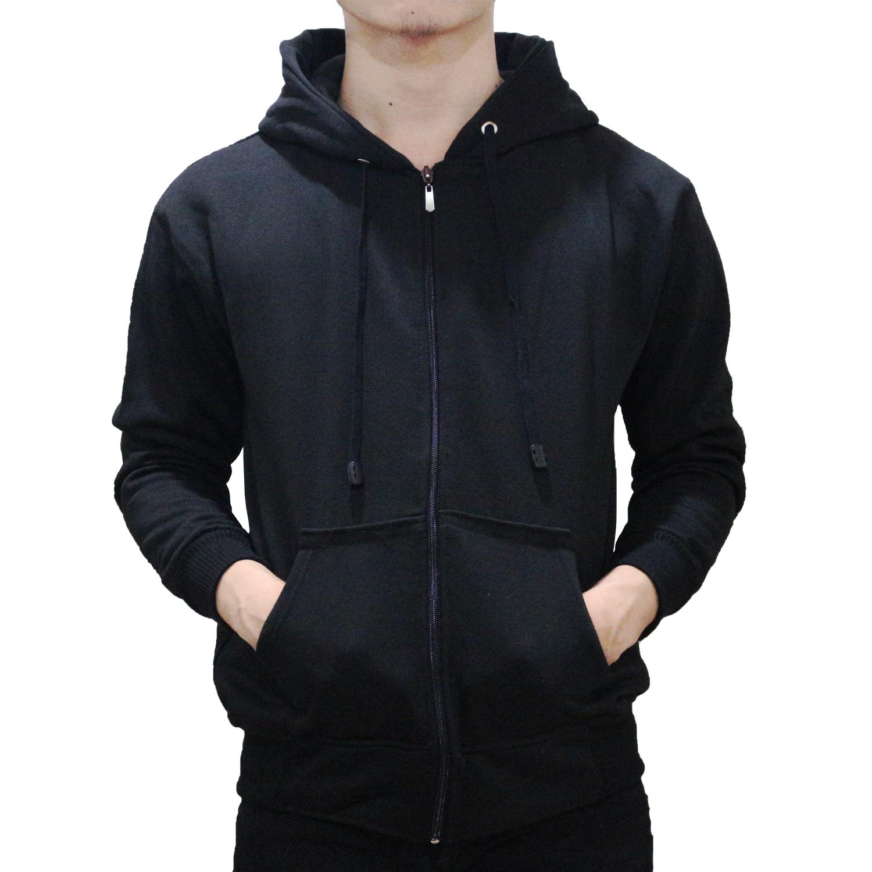 Switer Hoodie Zipper Polos - hitam