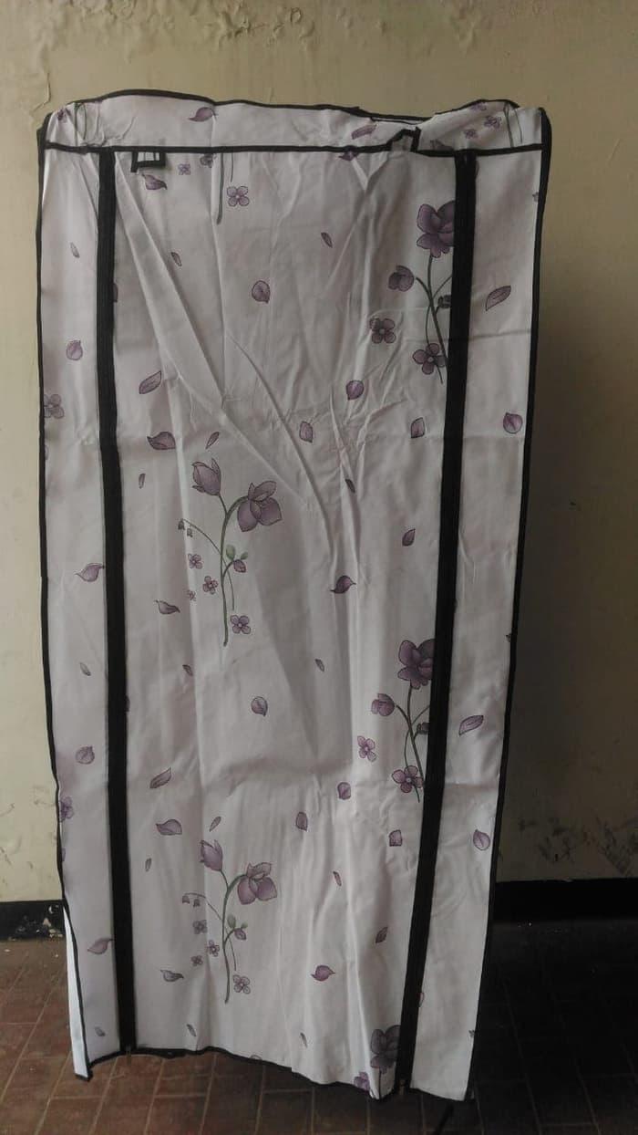 rak baju single lemari portable gantung simple tempat pakaian motif murah