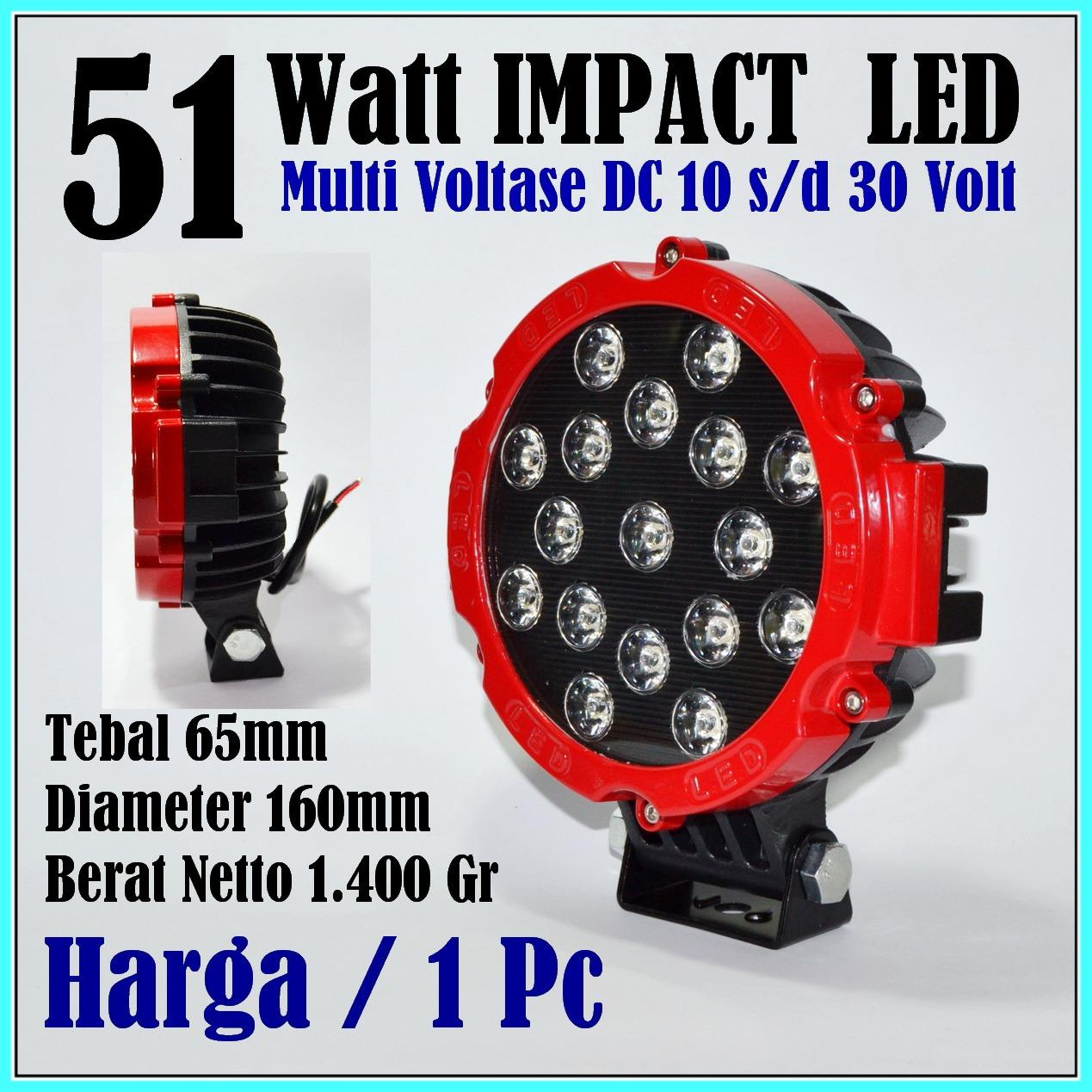 Lampu Sorot LED 51 Watt Lampu Tembak LED Spot Light Work Light LED 51W Red 12 V - 24 V 12 Volt - 24 Volt untuk Mobil Motor Offroad Truk Alat berat