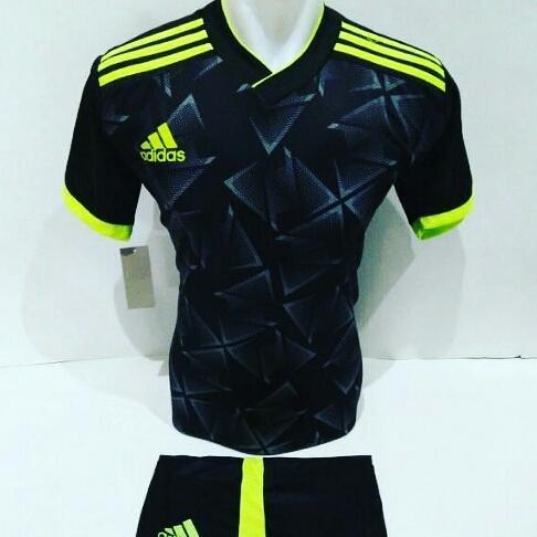 [BEST SELLER AD 08] Baju Futsal Jersey Olahraga Volly Kaos Bola Setelan Voli Adidas Hitam Hijau