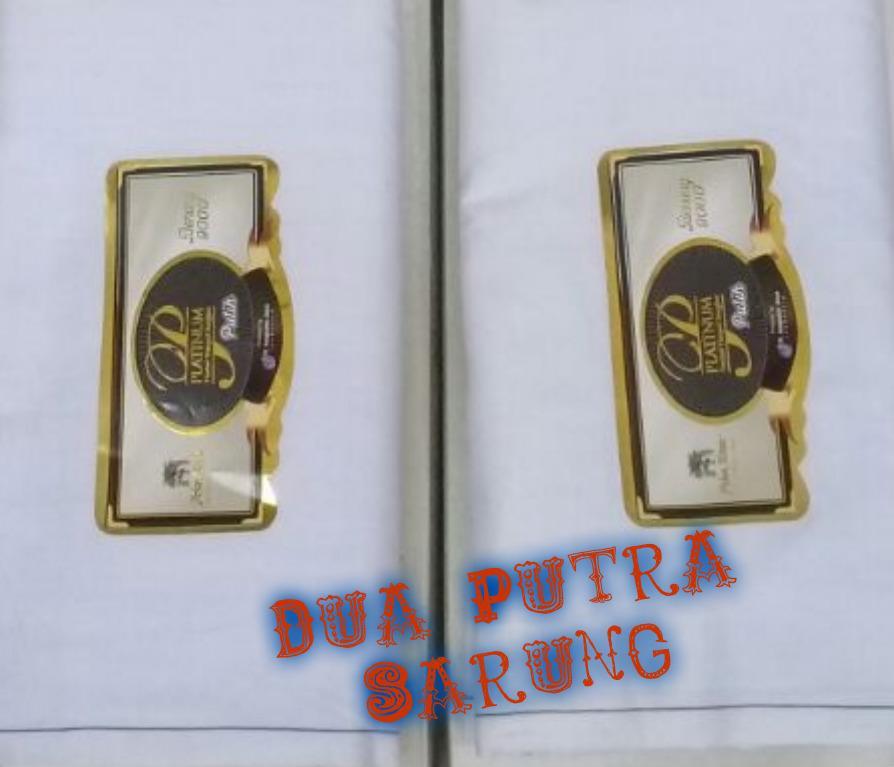 dua putra Sarung Pohon Korma Platinum Timbul Tumpal Songket Putih motif BHS