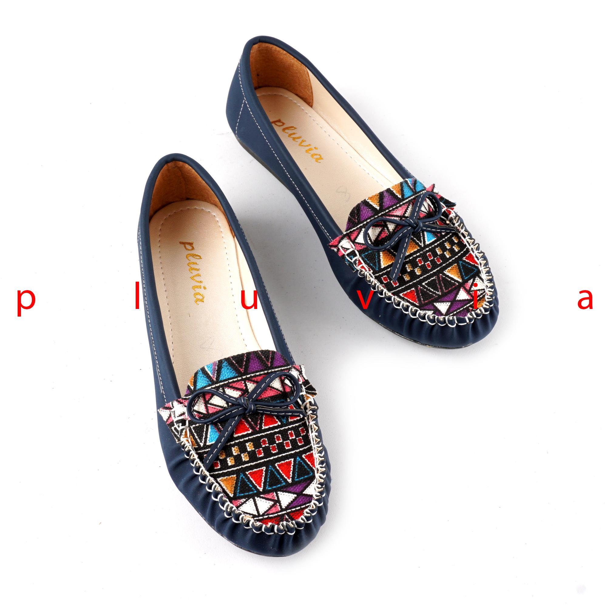 Pluvia - Sepatu Balet Flat Shoes Slip On Wanita Etnik PLV43 - Navy d0139360ee