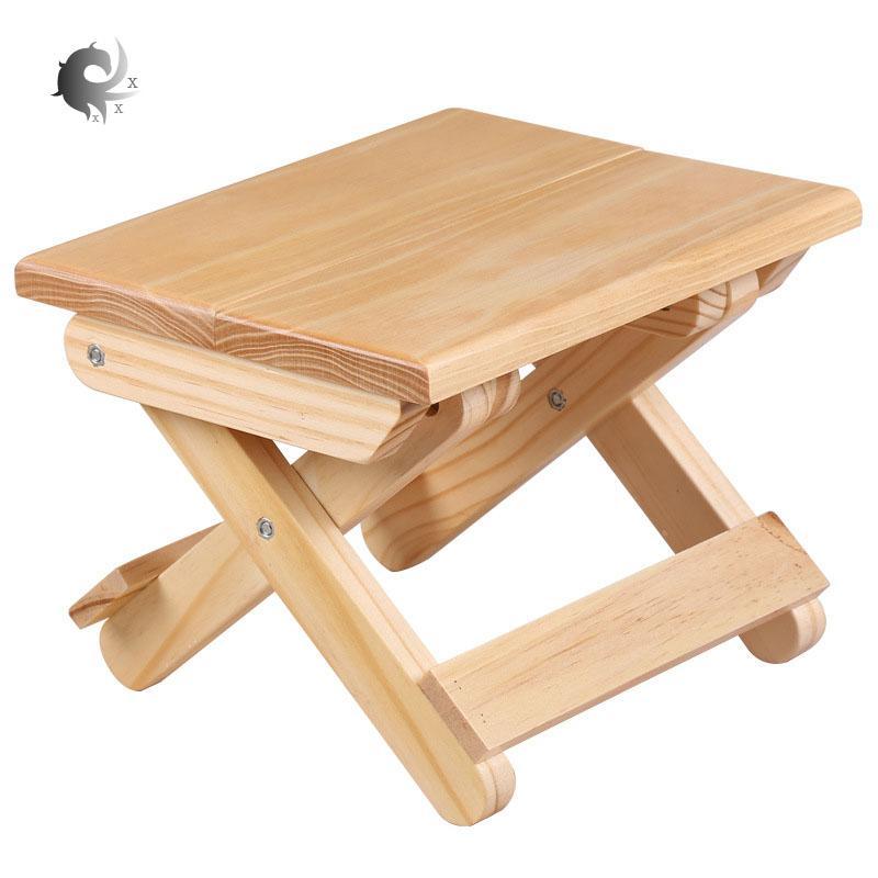 Bangku kayu solid lipat, portabel, rumah tangga kayu solid Mazar, kursi memancing luar ruangan, bangku kecil, bangku persegi, kayu pinus berkualitas tinggi, desain ergonomis, tahan lama, pengerjaan halus (19 * 24 * 17.8cm)