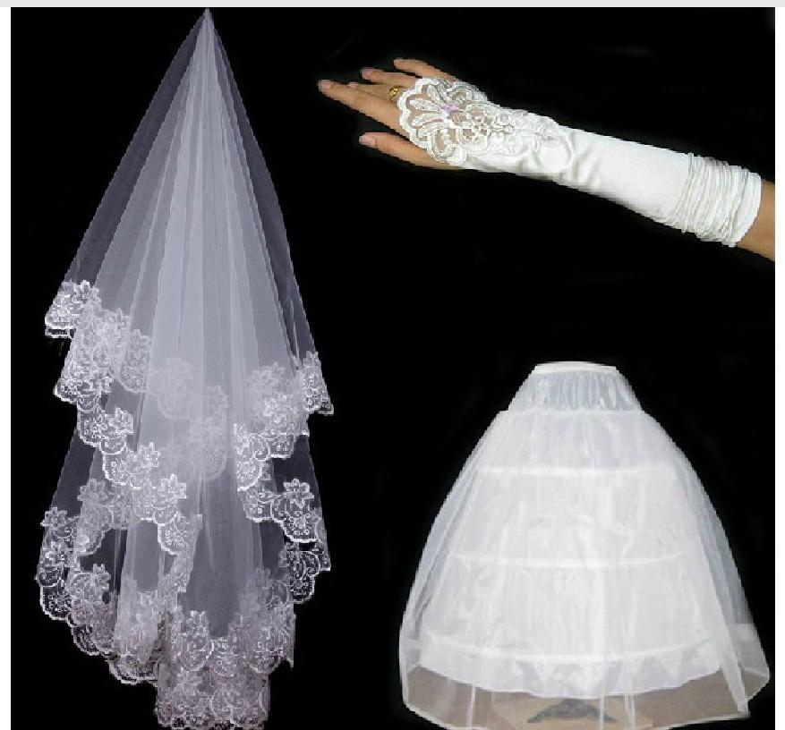 Pengantin wanita kerudung 1 paket/set isi 3 pcs 3 Meter super panjang Renda 1.5 meter menikah benang kerudung soft Sarung Tangan Kasa Petticoat