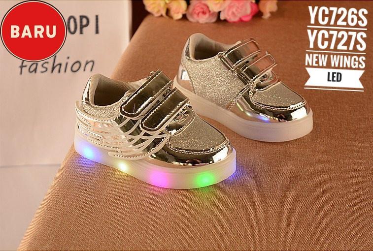 Sepatu Anak Led Wings Wrn Silver/Promo Sepatu Anak Lampu Grosir Surabaya