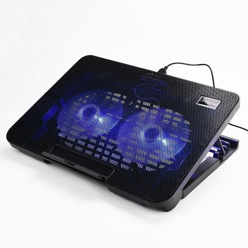 Lightniing Power-1Pcs Office Laptop Cooling Pad Big 2Fans Super Quiet Double Sides Built-in USB Line Back Feet Stand laptop Cooling fan stand for Macbook Air Pro Pro Retina 13 Inch and other brand 13inch Laptop(Black)
