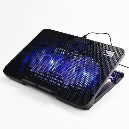 Lightniing Power - 1 Pcs Kantor Bantalan Pendingin Laptop Besar 2 Fans Sangat Sunyi Double Sisi Built-In USB Line Kembali Kaki Stand Laptop Kipas Angin Pendingin Berdiri untuk macbook Air Pro Pro Retina 13 Inch dan Merek Lain 13 Inch Laptop (Hitam)
