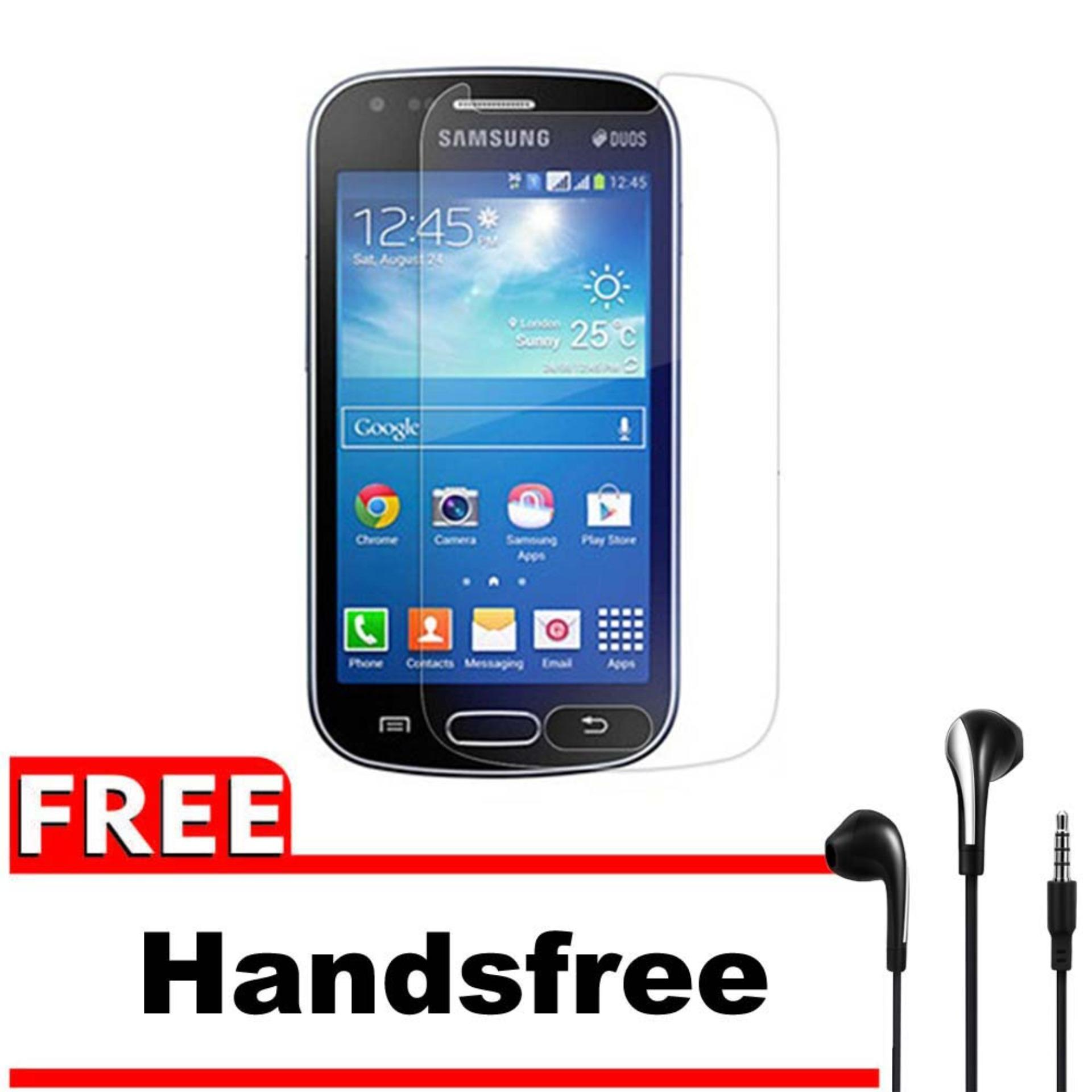 Vn Samsung Galaxy S2 TV / S7273 Tempered Glass 9H Screen Protector 0.32mm + Gratis Free Handsfree Earphone Headset Universal - Bening Transparan