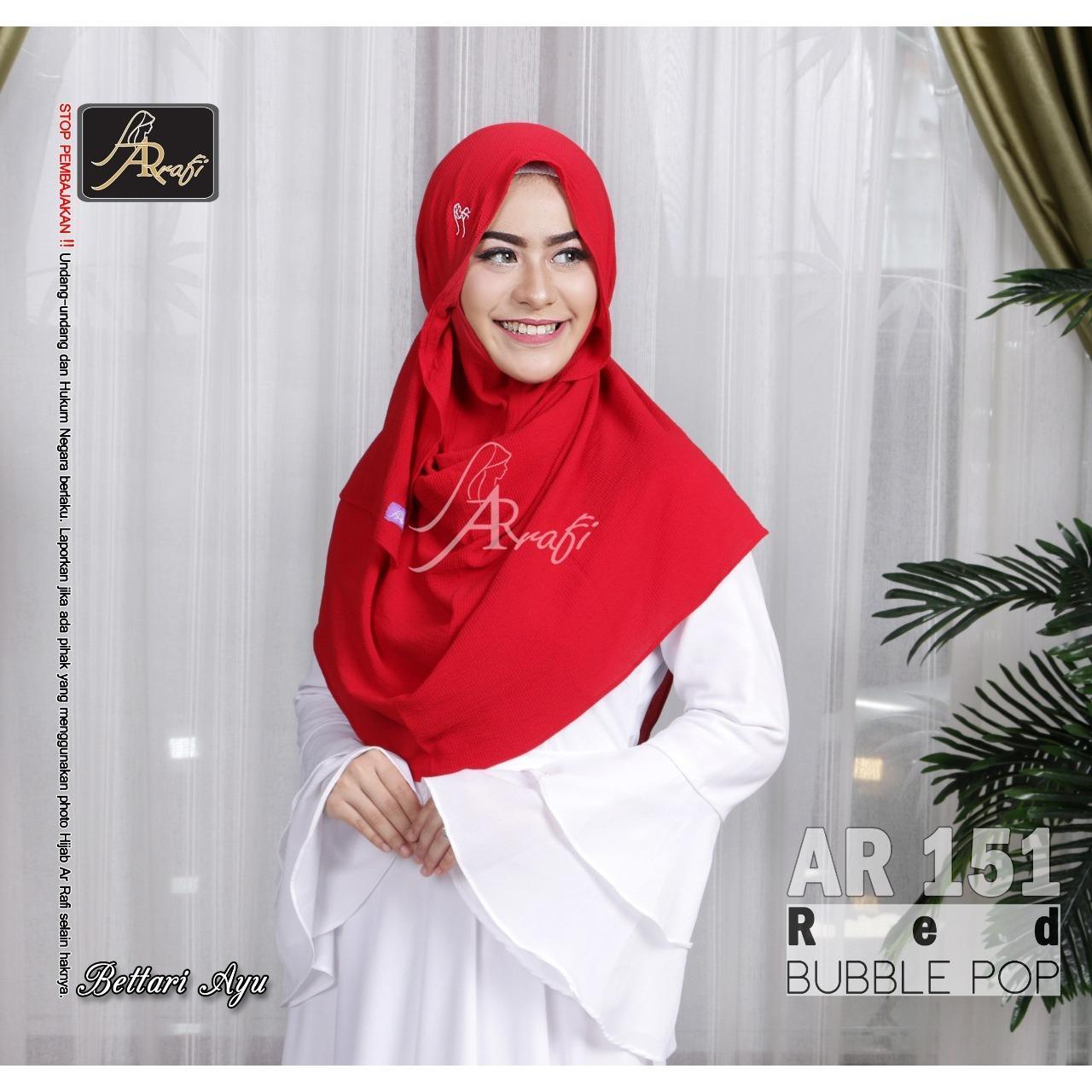 Hijab Jilbab kerudung pashmina instant pastan tali serut AR RAFI 151 red