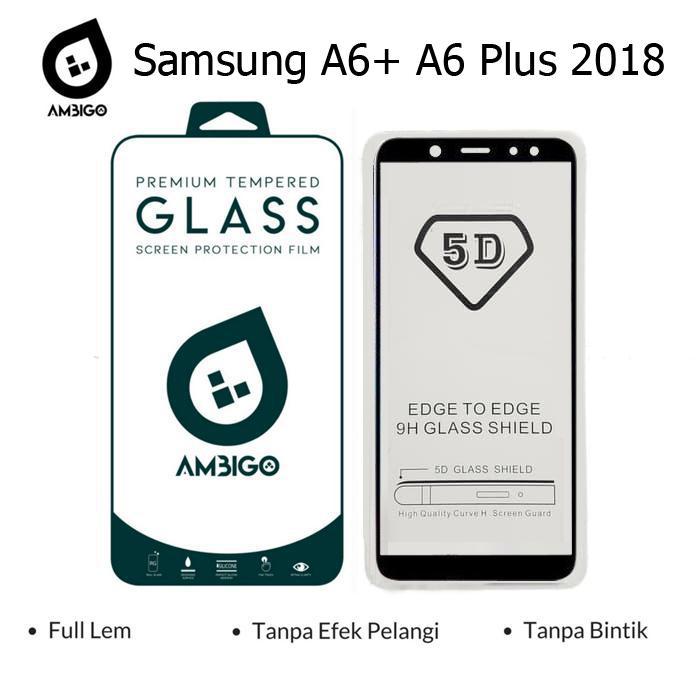 Gerai Acc Ambigo Tempered Glass 5D Full Cover Warna / Anti Gores Kaca Full Lem For Samsung A6+ A6 Plus 2018  - Black