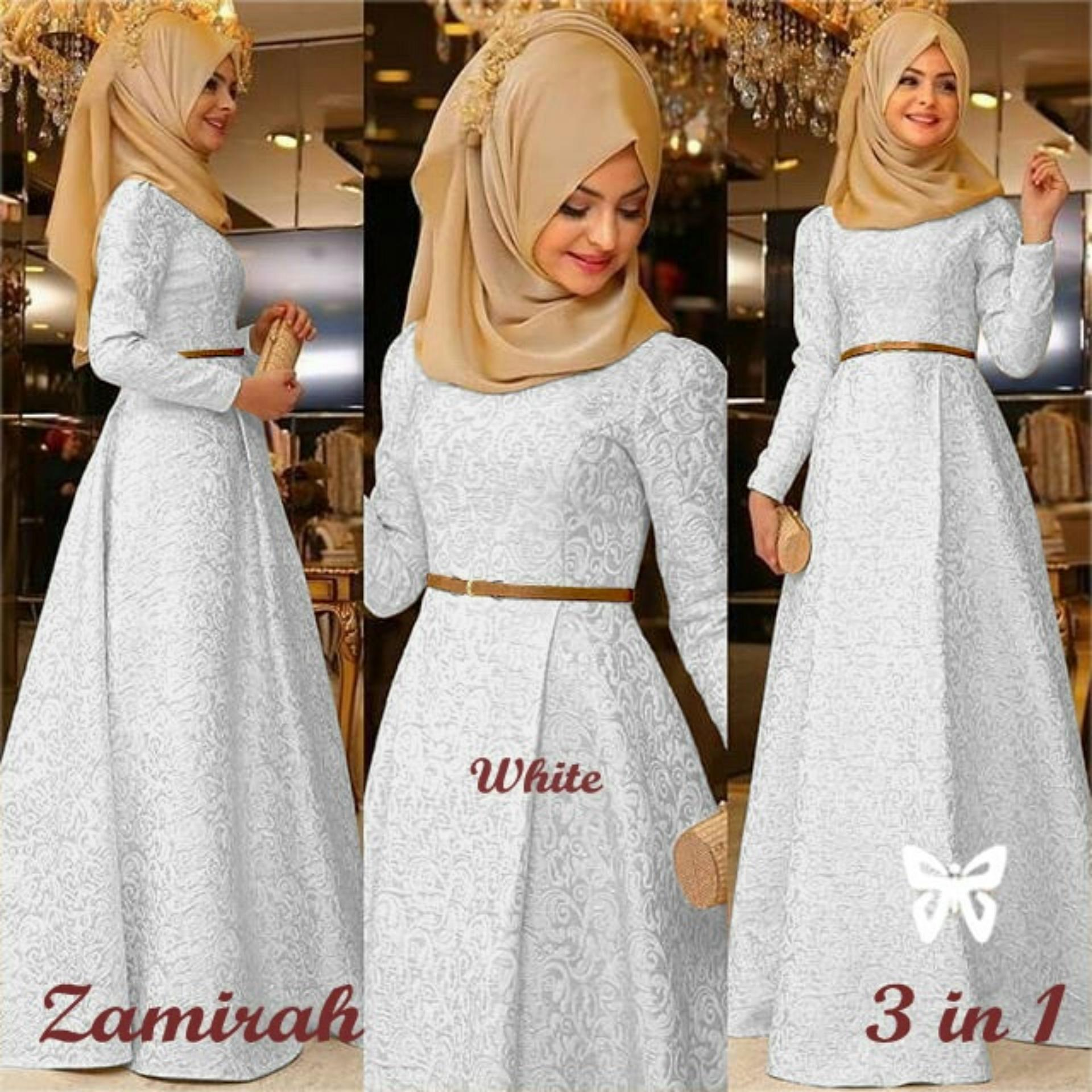 UC Dress Gamis Muslim Mirah / Hijab Muslim / Muslim Syari Hijab Syar'i / Busana Muslimah / Kebaya Modern Lebaran (Mirahza)  SS - Putih White / Gaun Pesta Lengan Panjang 2018