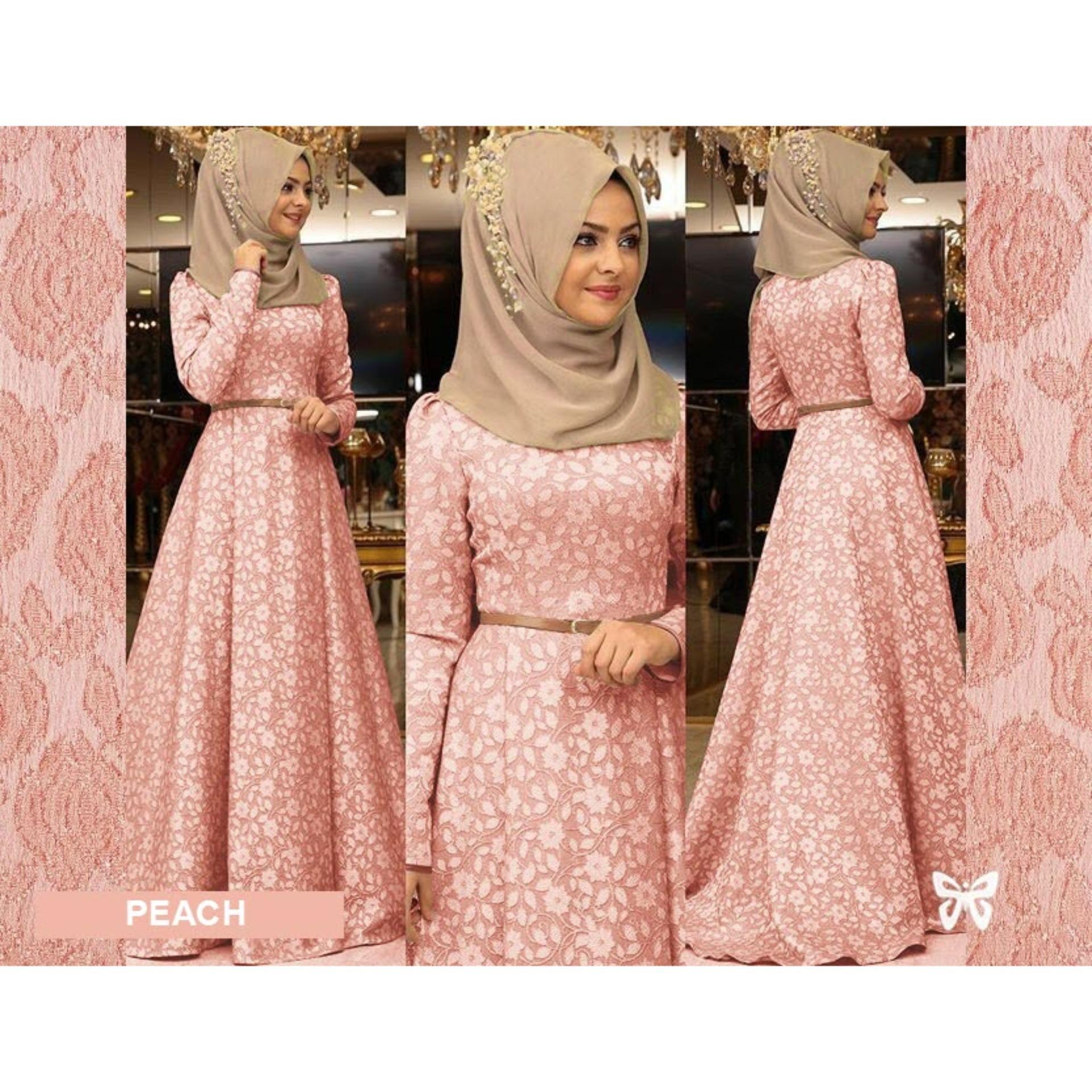 Maxi Dress Lengan Panjang MSR087 Gamis Syari Gaun Pesta Muslimah Baju Muslim Wanita