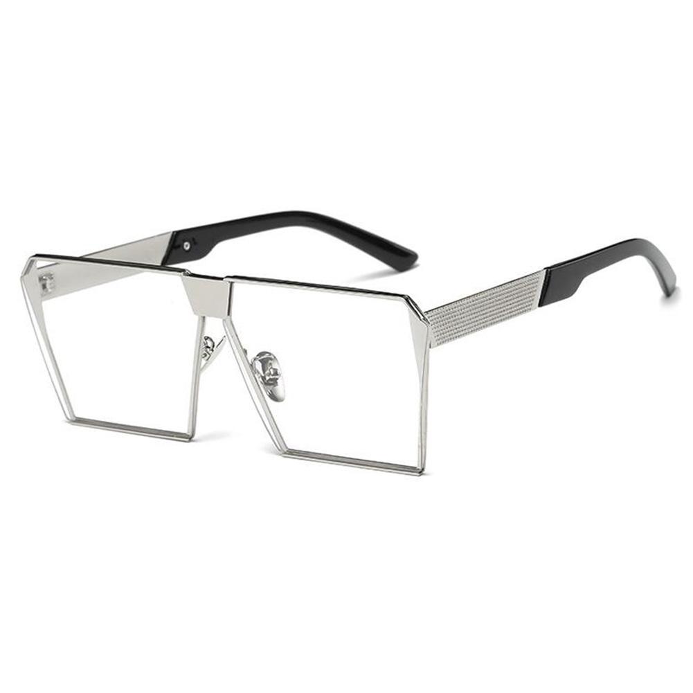 Wanita Oversized Persegi Kacamata Hitam Bingkai Logam Datar Terbaik Jalanan Modis Kacamata Hitam Lensa Warna: Perak Bingkai Film Transparan Spesifikasi: non-polarized