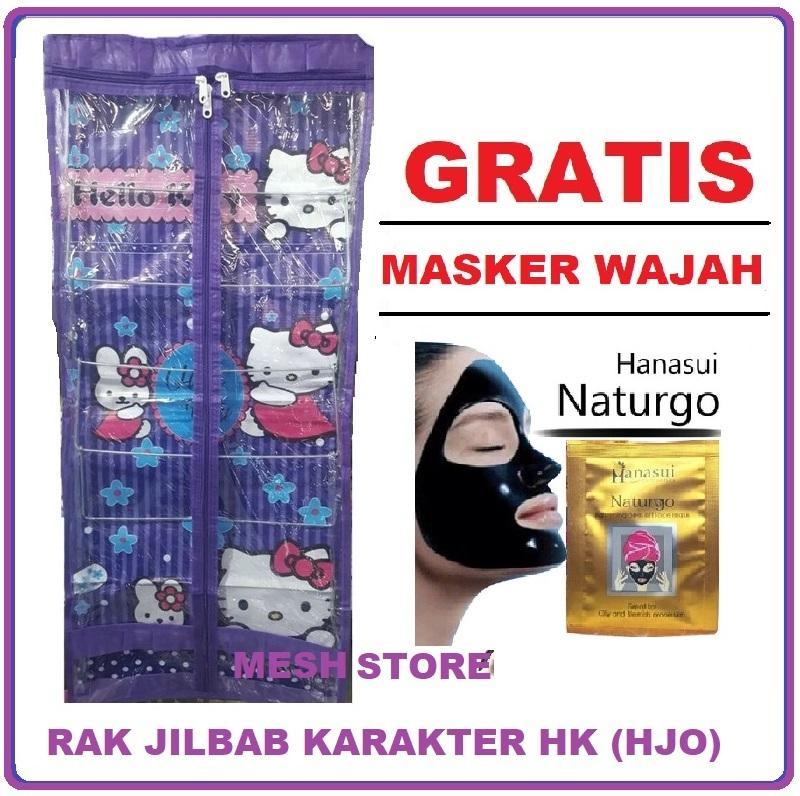 Rak Jilbab Gantung Karakter 6 Tingkat (gratis Promo) Dompet/ Pouch Kosmetik/ Masker Wajah By Mesh Store.