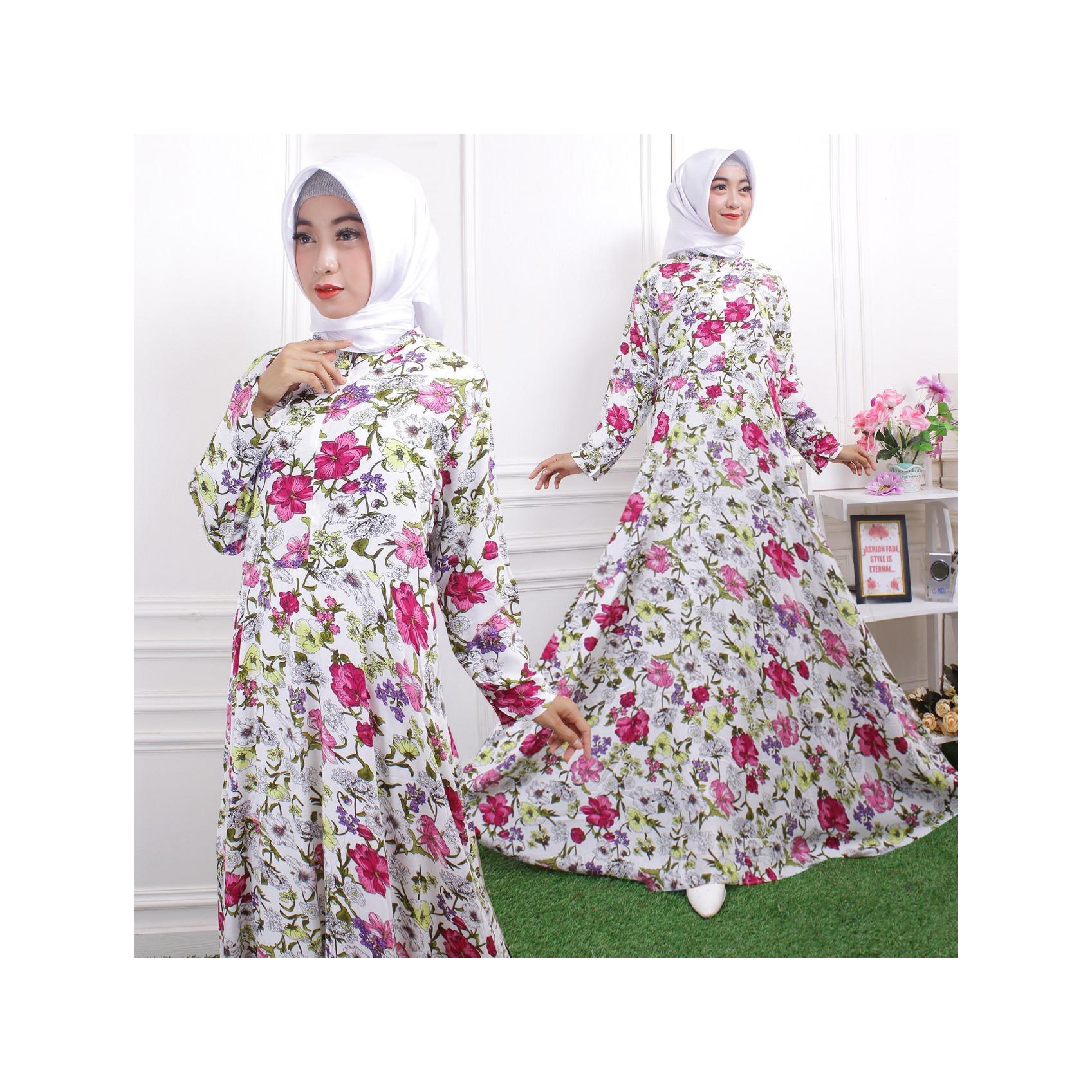Baju Muslim / Gamis Maxi Dress Katun Motif Bunga Besar Eva 02 No Pasmina