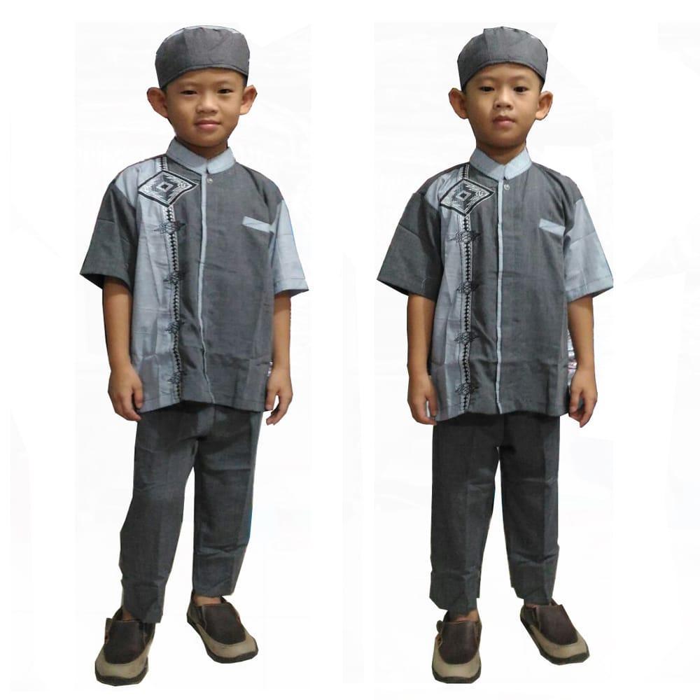 Glow fashion Stelan Baju koko atasan kemeja batik anak pria shirt dan celana panjang plus peci Raka