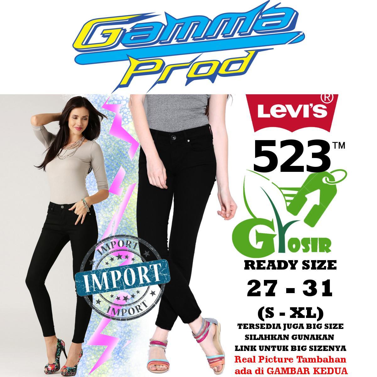 Celana Soft Jeans LEVIS 523 BLACK / HITAM Skinny WANITA GROSIR