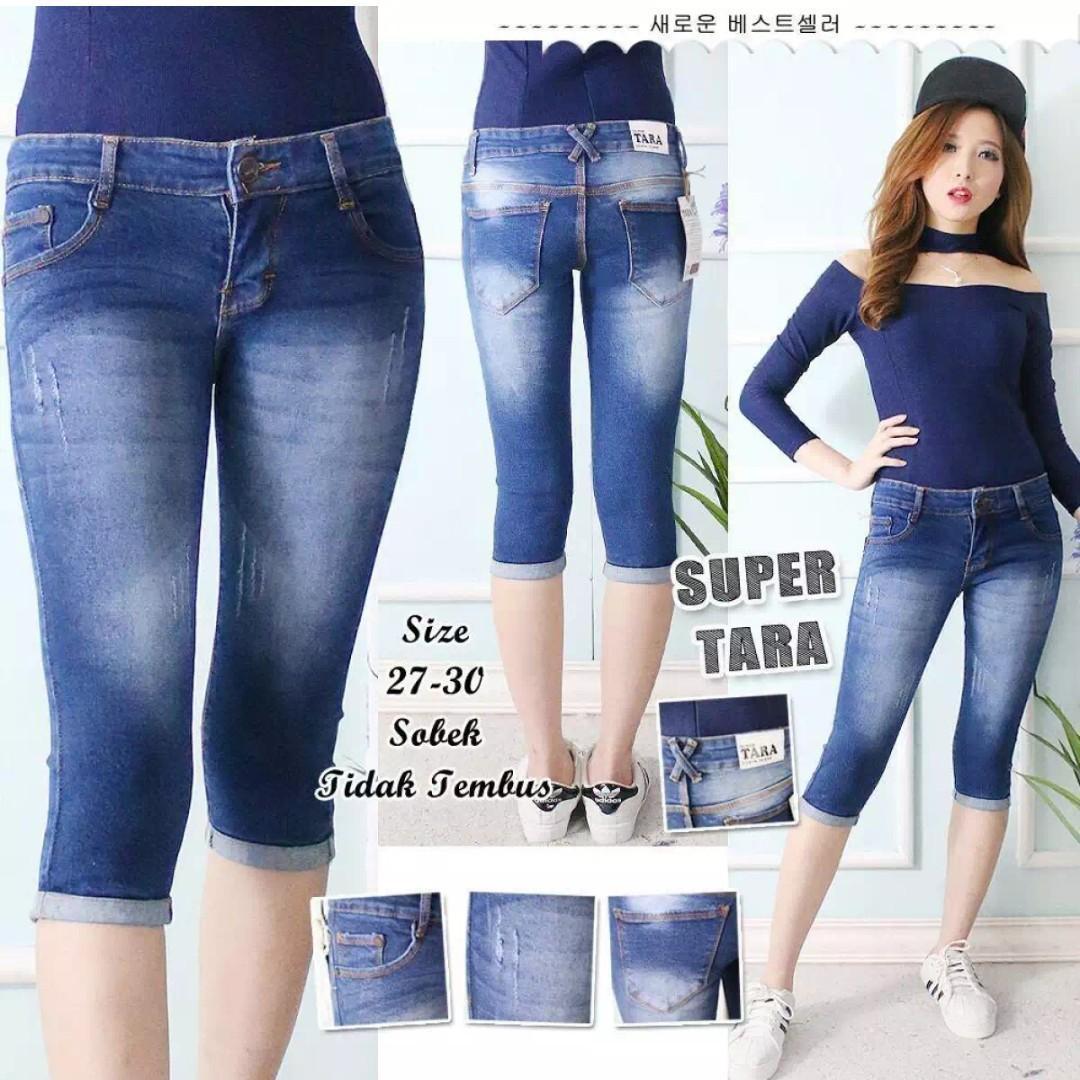 GLF Celana Jeans Wanita 7/8 TARA Stic Balik Biru