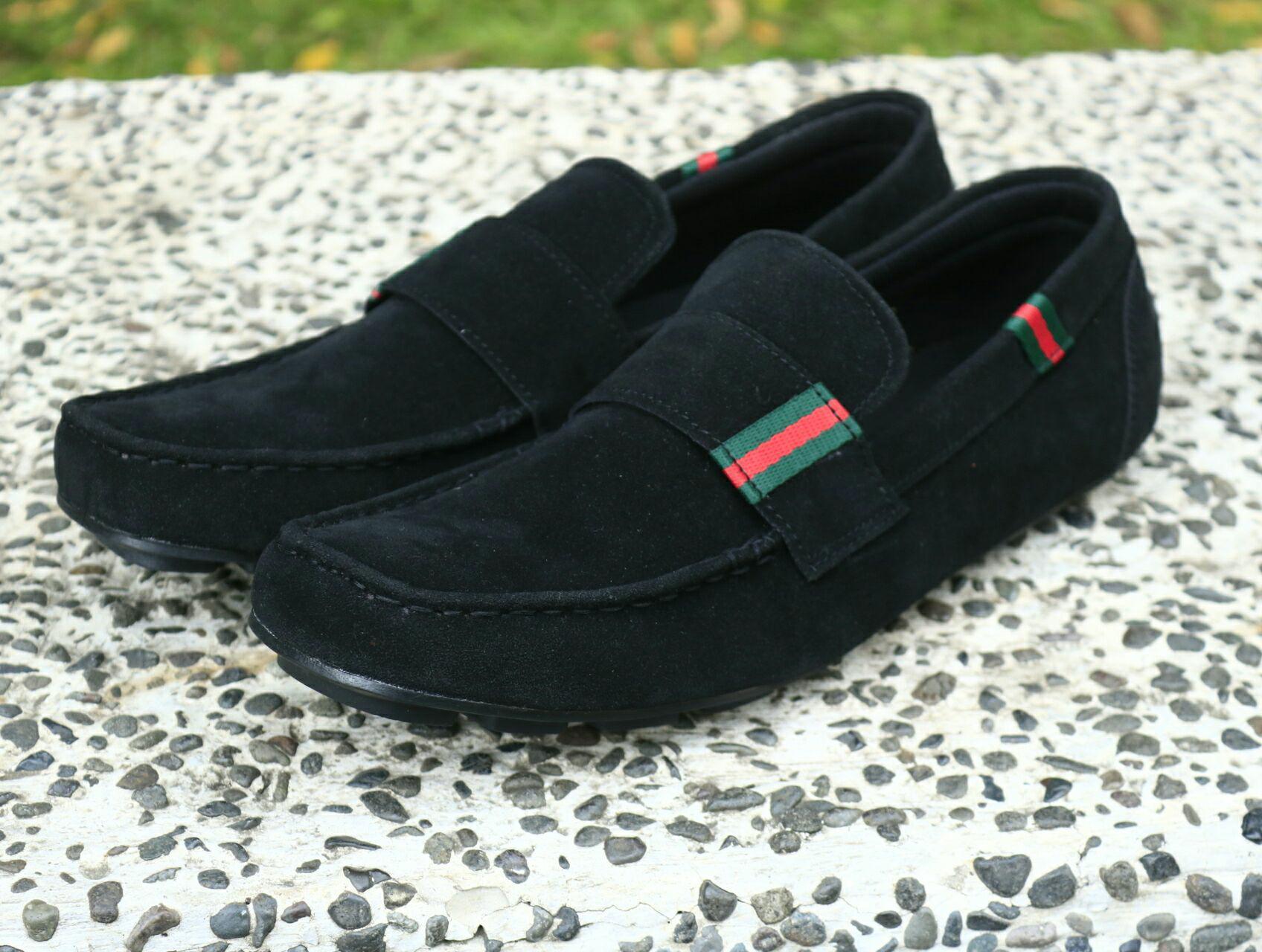 Sepatu Gucci (guci) slip on Suede Pria casual sepatu kantor formal (Loka)