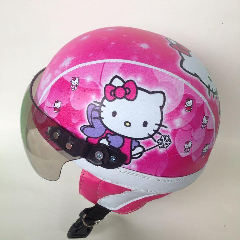 helm anak retro lucu kaca riben motif hello kitty usia 2 sampai 5 tahun/ pink list putih
