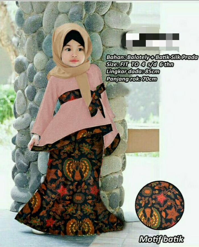 Baju Gamis anak kebaya kombinasi batik/balotely/hijab anak perempuan