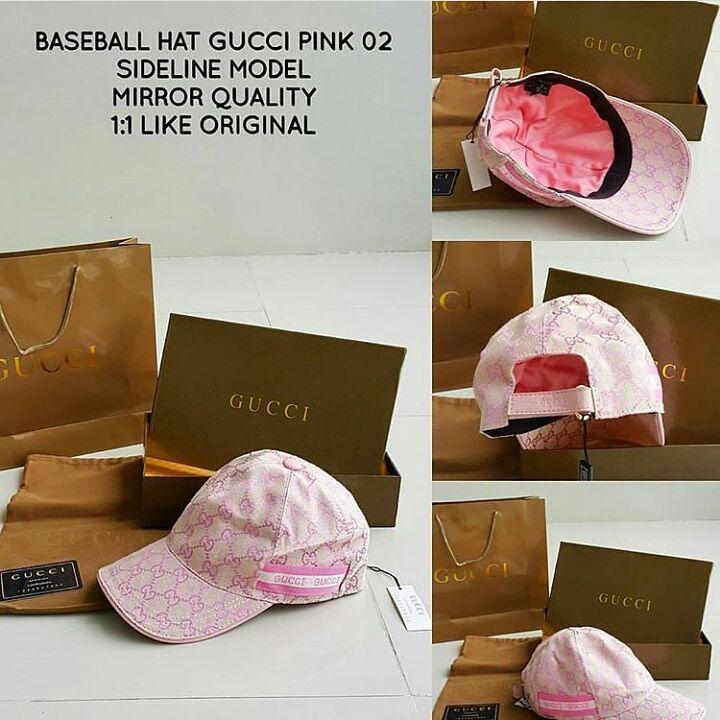 topi baseball hat gucci pink 02 sideline model mirror