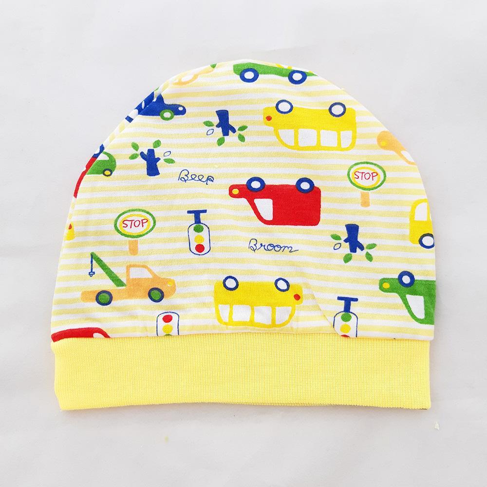 Momo Toys Okiyo Topi Bayi Newborn Motif car Salur - Kupluk Bayi / Topi Bayi