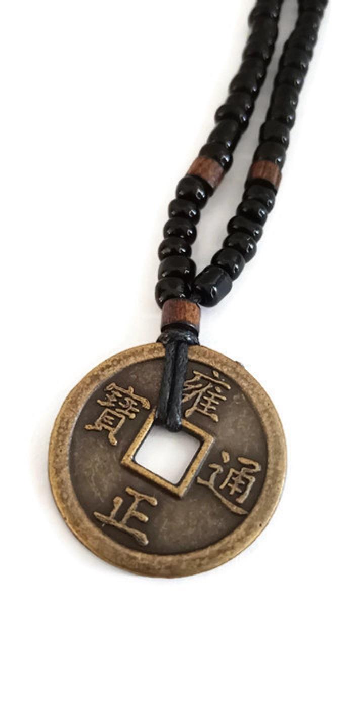 Robagin Koin logam kalung unisex aksesoris pria kl61