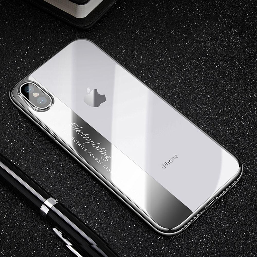 IPhone X Kasus, ruilean Ultra Ramping Anti-Menggaruk Lembut Electroplating TPU Bening Belakang Case